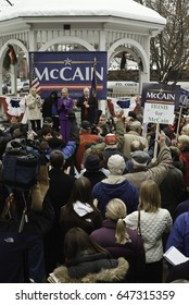 KEENE, NEW HAMPSHIRE/US - JANUARY 7, 2008: US Senator John McCain speaks to supporters during an outdoor rally on the final day before the 2008 first-in-the-nation New Hampshire presidential primary.