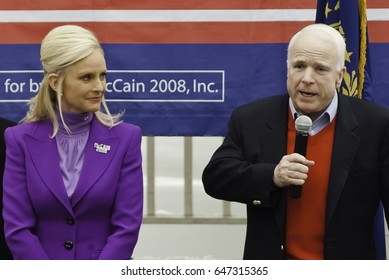 KEENE, NEW HAMPSHIRE/US - JANUARY 7, 2008: US Senator John McCain speaks to supporters during a rally on the final day before the 2008 first-in-the-nation New Hampshire presidential primary.