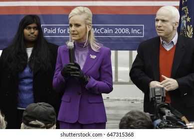 KEENE, NEW HAMPSHIRE/US - JANUARY 7, 2008: John McCain's wife, Cindy McCain,  speaks to McCain supporters on the final day before the 2008 first-in-the-nation New Hampshire presidential primary.