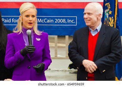 KEENE, NEW HAMPSHIRE/US - JANUARY 7, 2008: US Senator John McCain's wife, Cindy, speaks to supporters at a rally on the day before the 2008 New Hampshire presidential primary.