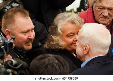 KEENE, NEW HAMPSHIRE/US - JANUARY 7, 2008: US Senator John McCain speaks with supporters during a rally on the final day before the 2008 first-in-the-nation New Hampshire presidential primary.