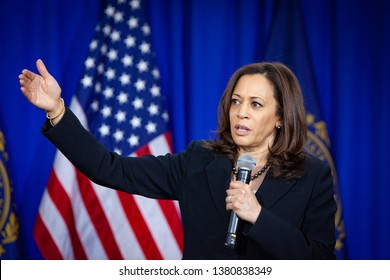 Keene, NH - April 24, 2019: Democratic 2020 U.S. presidential candidate Kamala Harris campaigns in New Hampshire.