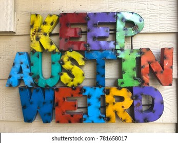 Keep Austin Weird multicolored metal sign