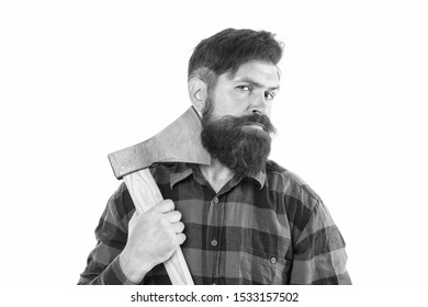 Keep calm and shave beard. Brutal lumberjack having shave with sharp axe blade isolated on white. Bearded man with classic shave. Shave barbershop.