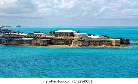 Keep and Commissioner's House at King's Wharf, the former Royal Naval Dockyard on Ireland Island in Bermuda