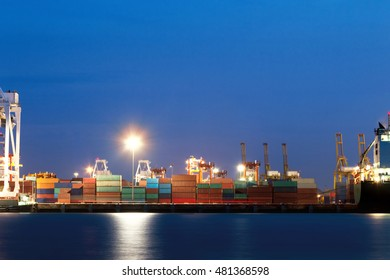 Keep the container on a dock. Preparing transport on cargo ships.