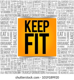 KEEP FIT word cloud, health concept background