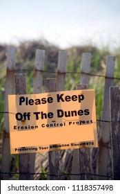 keep off dunes erosion control sign Montauk, New York