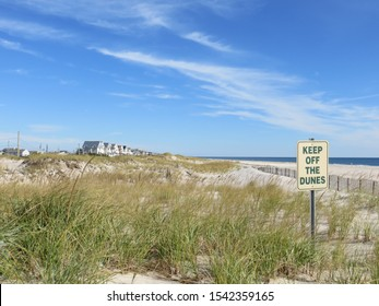 A Keep Off The Dunes Sign with beach houses, the dunes and ocean in the background at Cupsogue Beach In Westhampton Beach, Long Island, NY.