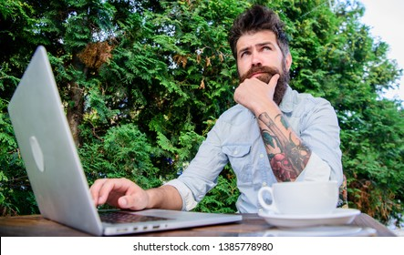 Keep on blogging. Bearded man blogging on popular social network. Amateur journalist blogging and writing articles. Blogging and advertising.