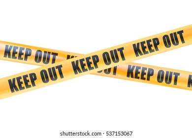 Keep Out Caution Barrier Tapes, 3D rendering isolated on white background