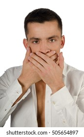 Keep silent. Man closes mouth.