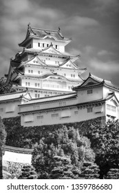 The keep tower in black and white at the Himeji Castle, also called White Heron Castle, Japan. This is a UNESCO world heritage site and is now one of the most important tourist destinations in Japan.