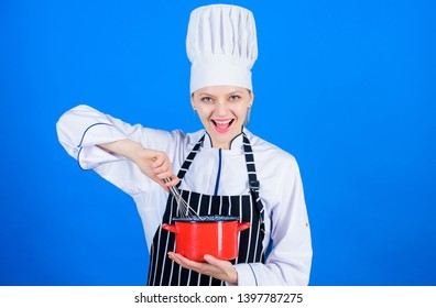 Keep whisking. Happy woman cook whisking by hand. Professional baker making cake by whisking method. Whisking utensil for whipping eggs or cream.