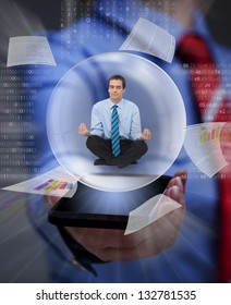 Keep your balance in the digital information overload - businessman keeping cool with yoga