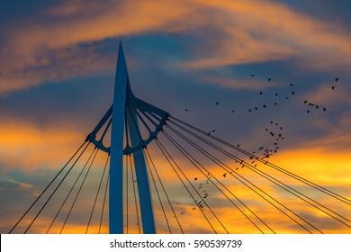 Keeper of the Plains Bridge at Sunset, Wichita Kansas