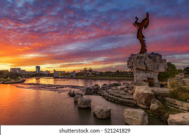 Keeper of the Plains and City Skyline at Sunrise