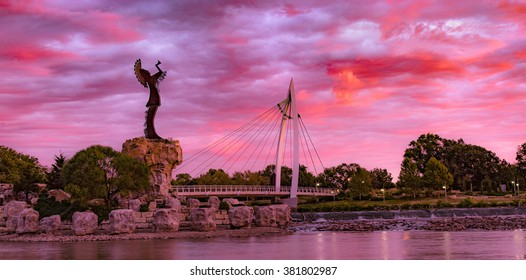 Keeper of the Plains Indian in Wichita, Kansas. A steel sculpture by Blackbear Bosin that stands at the fork of the Arkansas River.