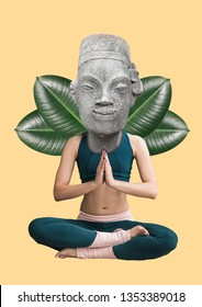 Keeping calm and concentration. Phycology concept. Girl sitting in buddahs position headed by statue with green leaves against light-yellow background. Modern design. Contemporary art collage.
