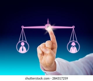 Keeping a female and a male office worker in balance by touch of a finger tip. Both the male and female symbol are suspended by a balanced scale in cyberspace. Business metaphor with gender theme.