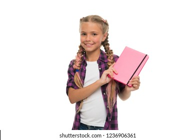 Keeping her secrets in diary. Child cute girl hold notepad or diary isolated on white background. Childhood memories. Diary for girls concept. Note secrets down in your cute girly diary journal.