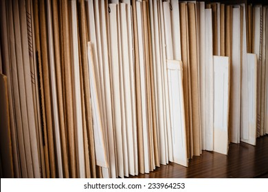 Keeping Records On Yellow Shelves Background