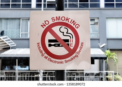 Keeping with the times - a no smoking sign banning traditional cigarettes and all modern alternative smoking devices.