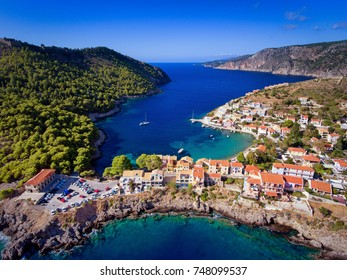 Kefalonia Assos (Asos) Village in Greece aerial photography from a drone