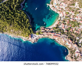 Kefalonia Assos Village in Greece as seen from above