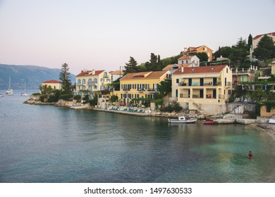 Kefalonia, Greece - 1 September 2019: Fiscardo Bay, one of the best place to see in Kefalonia, green water and beautiful houses.