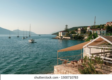 Kefalonia, Greece - 1 September 2019: Fiscardo Bay view with boats. Beautiful place to visit in Kefalonia.