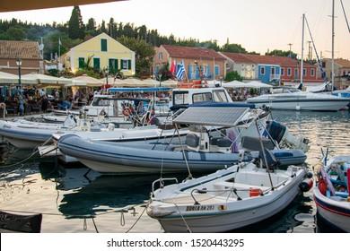 Kefalonia, Greece - 1 September 2019: Boats at Fiscardo Bay.