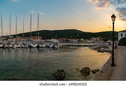 Kefalonia, Greece - August 23 2019: Fiscardo port at night