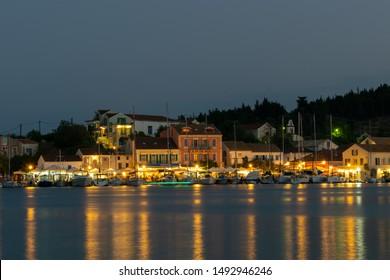 Kefalonia, Greece - August 29 2019: Fiscardo port at night