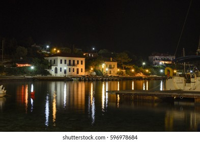 KEFALONIA, GREECE - JULY 2013: The coastal village of Fiscardo at night. It is a village and a community on the Ionian island of Kefalonia, Greece.
