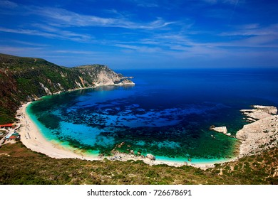 "KEFALONIA ISLAND, GREECE. Panoramic view of Petanoi (or ""Petani"") beach in Kefalonia island, Ionian Sea, Greece"