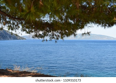 Kefalonia/Greece 17.08.2017 : Landscape with blue sea and mountains in the distance with green pine branches at the top.