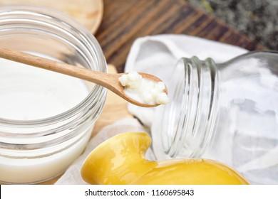Kefir milk, Close up of hand holding kefir grains, Healthy fermented food, Probiotic nutrition drink for good balance digestive system.