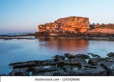Kefken Pink Rocks (Pembe Kayalar). Famous rocks in Kandira, Kocaeli, Turkey.