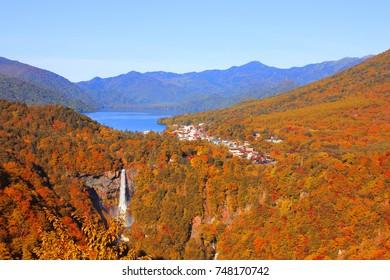 Kegon falls and Chuzenji lake in Autumn Season from Akechidaira observation deck, Nikko, Japan.