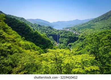 Kegon falls and Chuzenji lake landscape, Nikko, Japan