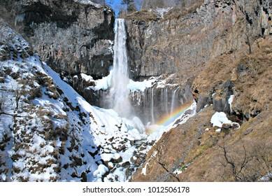 Kegon waterfall in winter, Nikko area, Tochigi prefecture, Japan