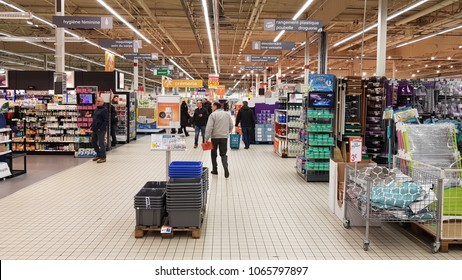 Kehl, Germany 02 February 2018: Interior of a Kaufland supermarket. Kaufland is a chain of German hypermarkets in the Lidl and Handelshof group.
