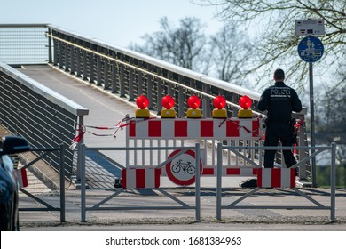 Kehl, Germany - March 22, 2020: German Federal police closed the border bridge due Coronavirus COVID-19 pandemic SARS-CoV-2 Epidemic at France control checkpoint to prevent further spread of virus.