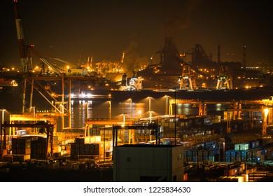 Keihin industrial zone which is visible from the Kawasaki Marien (Kawasaki City, Kanagawa Prefecture)