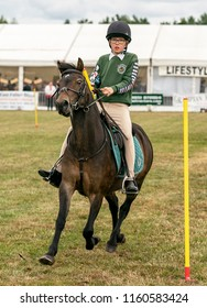 KEITH, MORAY, SCOTLAND – 12 AUGUST 2018:- This is a participant within the Pony Club Games at Keith Country Show, Moray, Scotland on 12 August 2018.