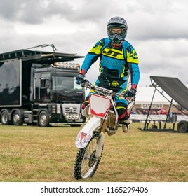 KEITH, MORAY, SCOTLAND – 12 AUGUST 2018:- This is one of the display motorcyclists that were part of the Keith Country Show, Moray, Scotland on 12 August 2018.