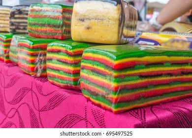 Kek Lapis serawak or Sarawak's Layer Cake.Colorful color and patterned cake cakes. This cake is baked in the oven and takes a long time. The taste of this cake is very tasty.