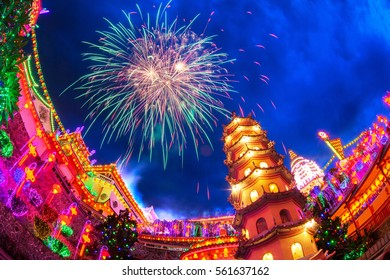 Kek Lok Si Temple light up with firework show in George Town, Penang