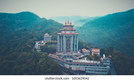 Kek Lok Si Temple in Penang island, Malaysia. Buddhist temple situated in Air Itam in Penang facing the sea and commanding an impressive view, andIt is said to be the largest Buddhist temple in Malays